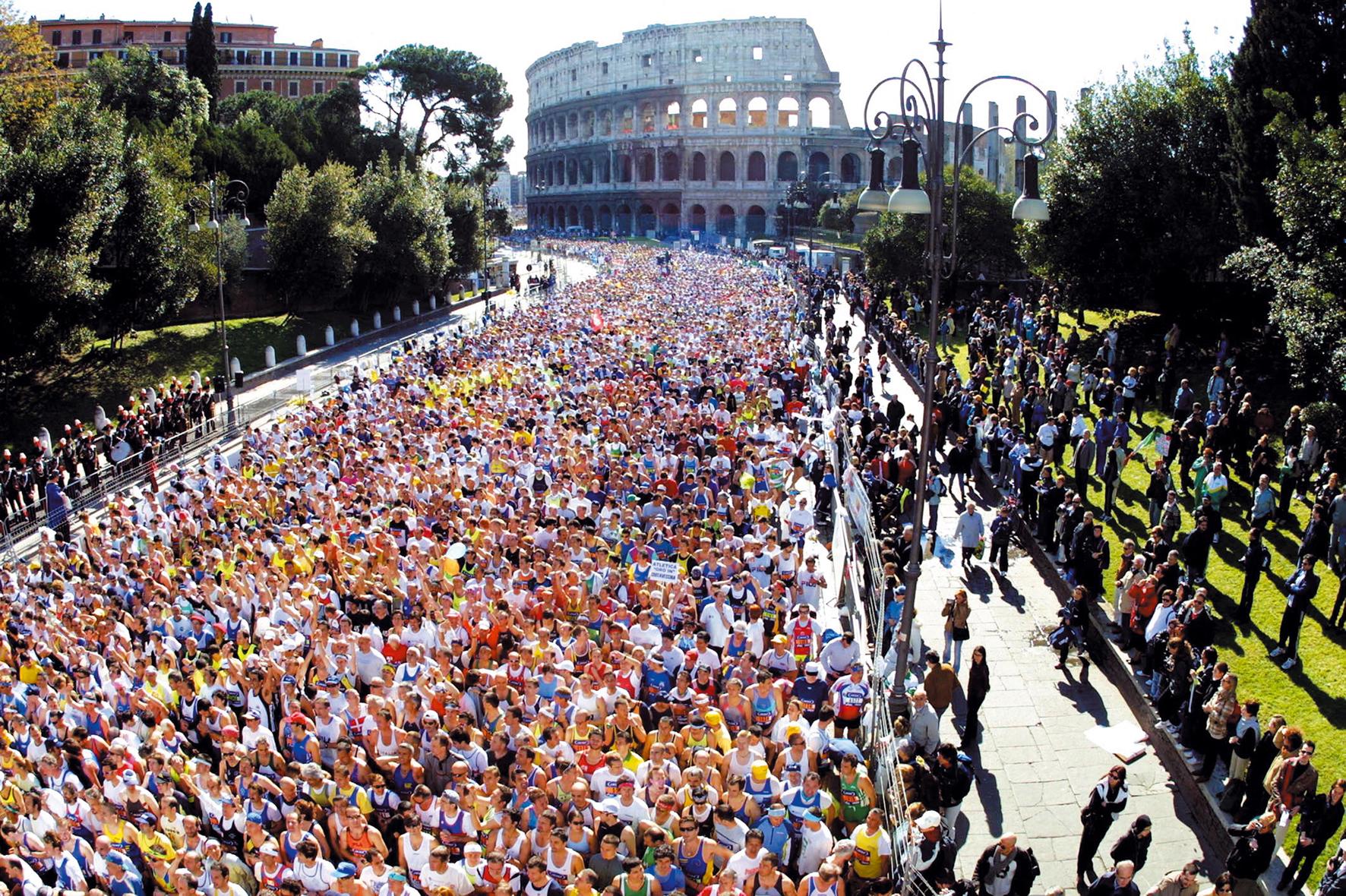 Rome Marathon Departure to Colosseum